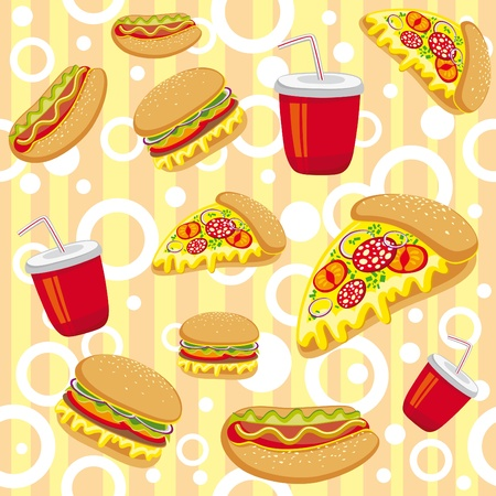 bright cartoon seamless texture of fast food Vector