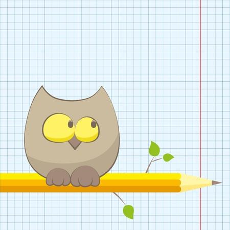 knowledge tree: owl and pencil(0).jpg Illustration