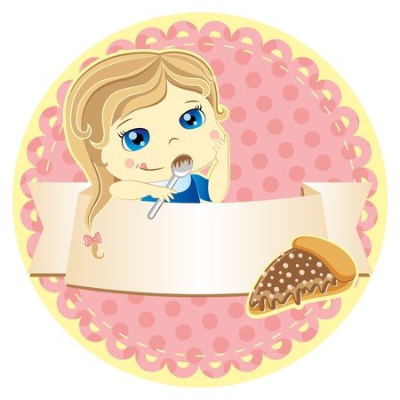 label with cartoon girl and cake on pink background Vector