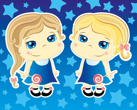 twin sister: two cartoon cute girls on blue background Illustration