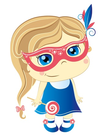 little cute girl in pink carnival mask Stock Vector - 10034908