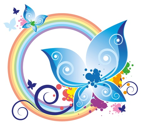 abstract illustration with blue butterfly and rainbow Vector