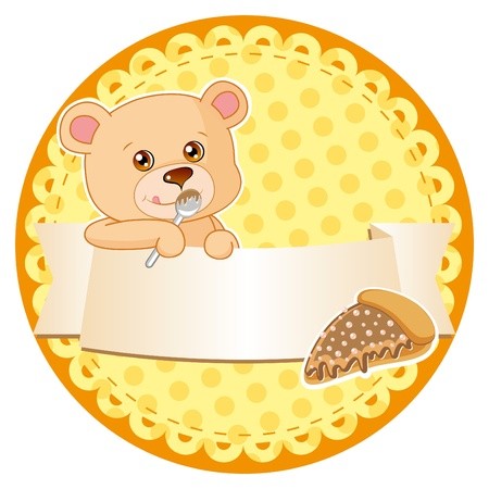 bright label of cake with teddy bear  Vector