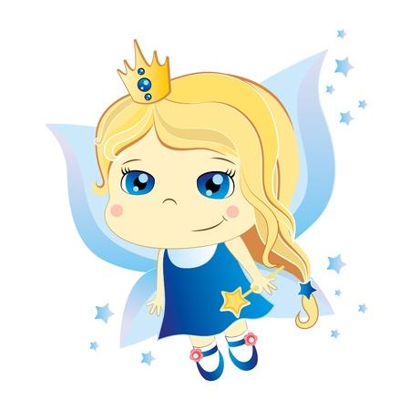cartoon hadas: Linda hada poco de dibujos animados con ojos azules