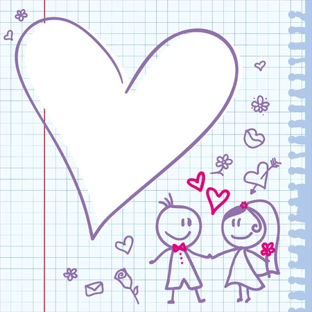 template of a wedding card with funny couple