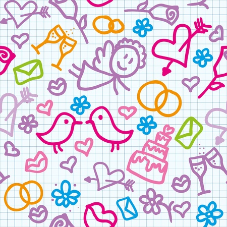 writ: bright seamless wedding pattern with realistic page