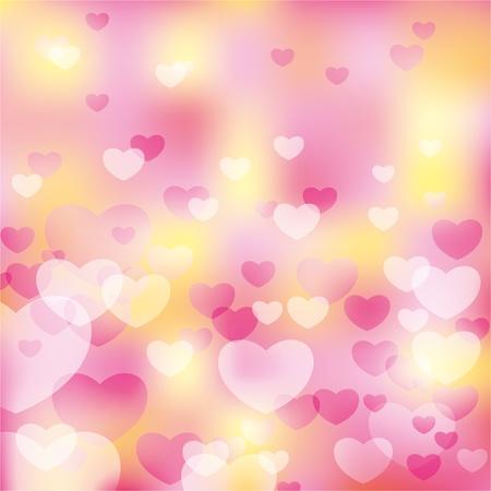 suave fondo abstracto de color rosado con corazones transparentes
