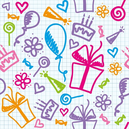 funny seamless pattern of birthday with hand drawn elements Vector