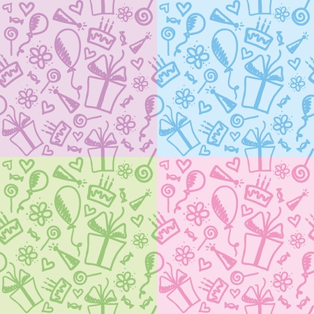 set of four funny color birthday patterns Vector