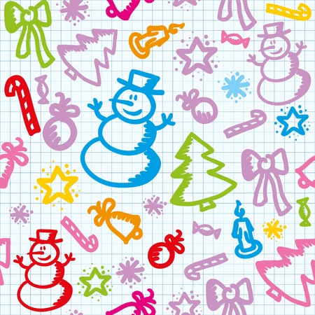 writ: christmas colorful seamless pattern with hand drawn elements Illustration