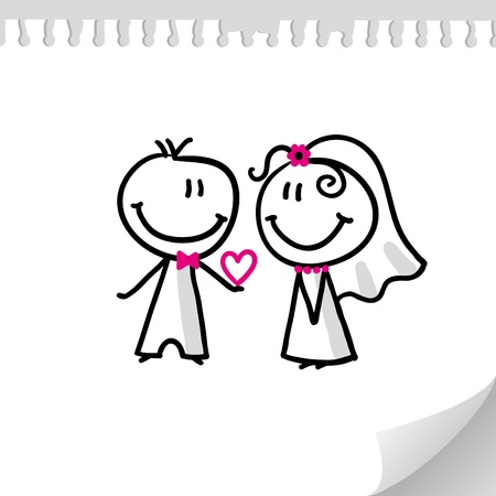 marriage cartoon: cheerful wedding couple on realistic paper sheet Illustration