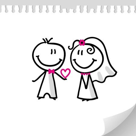 wedding couple: cheerful wedding couple on realistic paper sheet Illustration