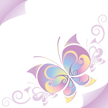 beautiful violet butterfly with curls on paper sheet Stock Vector - 10034929