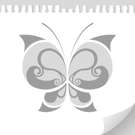 black and white butterfly tattoo sketch on paper sheet Vector
