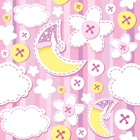 cute pink kid background with moon and cloud Vector