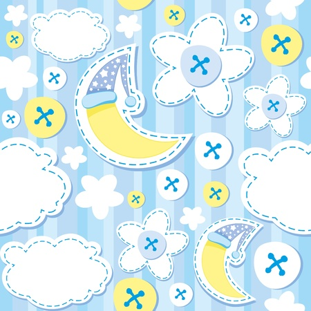 patch of light: cute blue kid background with moon and cloud
