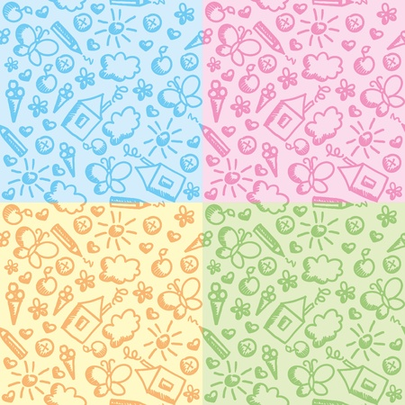 set of four cute kid seamless patterns Vector
