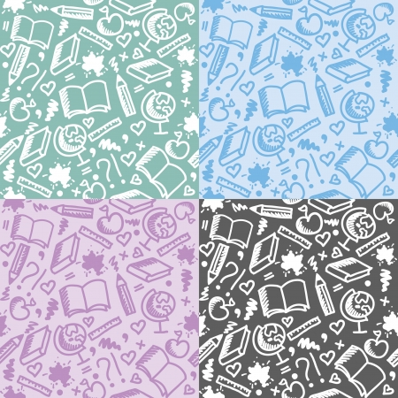 set of four funny school seamless patterns Vector