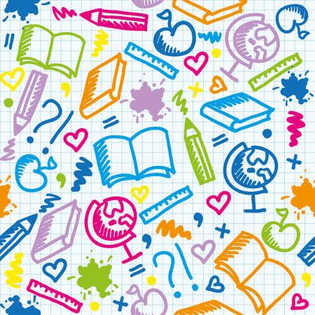 föremål: ljusa skola seamless med färgglada inslag Illustration