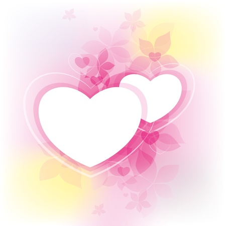 pink abstract background with two white hearts