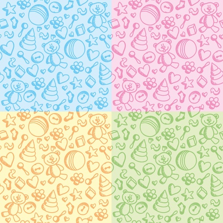 set of colorful cute toy seamless patterns Vector