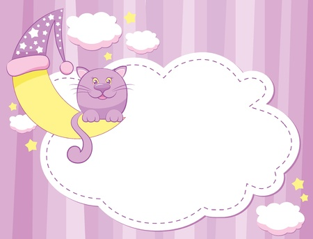 cute child background with cat and moon Vector