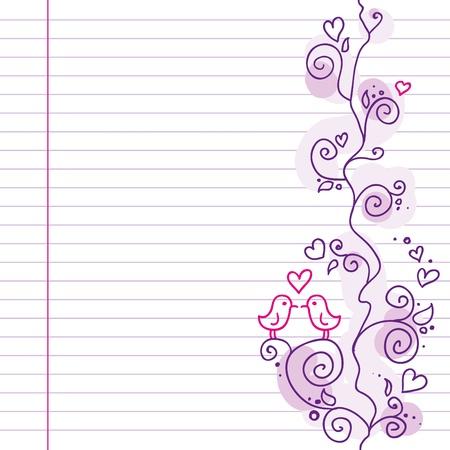 patrón de boda Linda violeta con pequeñas aves Foto de archivo - 10034936