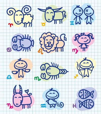 capricornio: conjunto de signos del Zodiaco de funny dibujado a mano