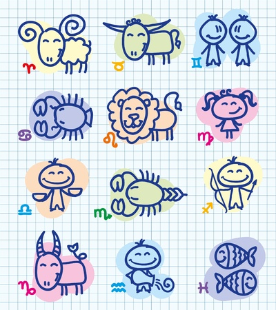aquarius star: set of funny hand drawn zodiac signs