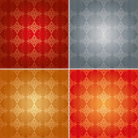 set of gothic seamless patterns with decorative element Vector