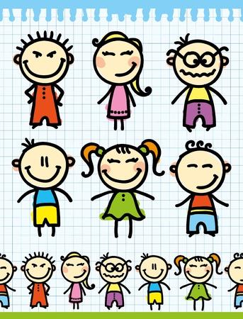 ridicolo: set di bambini divertente mano disegnato sulla pagina di carta Vettoriali