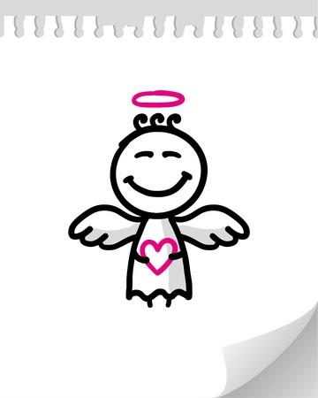 sacre coeur: Ange mignons cartoon sur page papier r�aliste