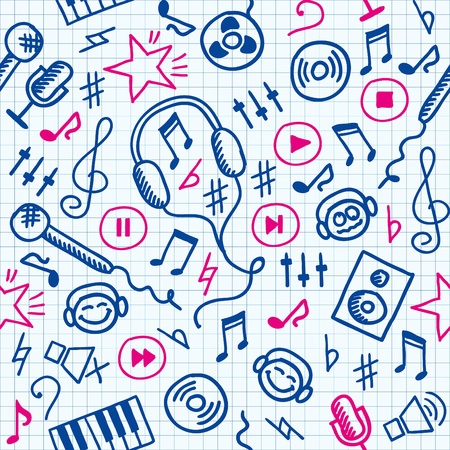funny hand drawn seamless pattern with music symbols Vector