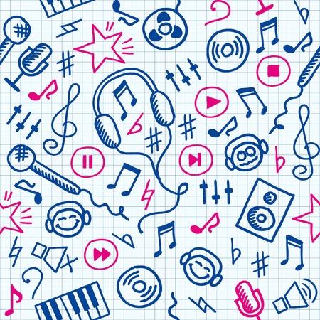leccion: patrón transparente dibujados de mano divertido con símbolos de música