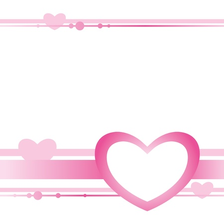 pink ribbons: cute card with pink heart on white background