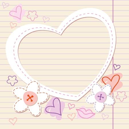 invitaci�n matrimonio: Vintage marco rom�ntico con coraz�n de papel y flores Vectores