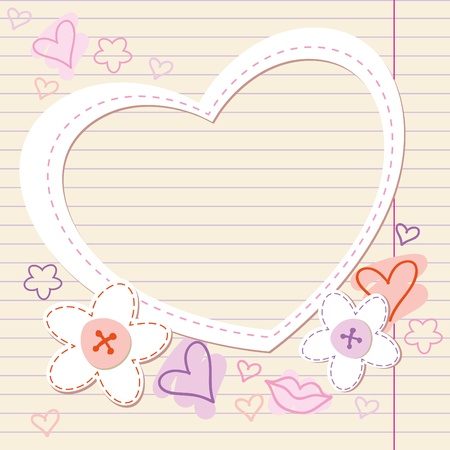 vintage romantic frame with paper heart and flowers Vector
