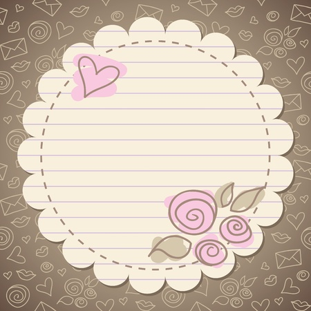 cute vintage romantic frame with old paper Illustration