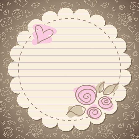 mignonne vintage frame romantique avec du vieux papier