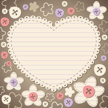 dessin coeur: mignonne vintage frame romantique avec du vieux papier Illustration
