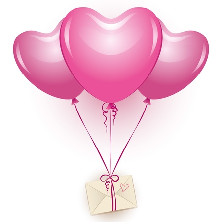 pink ribbon: three beautiful pink balloons with beige envelope
