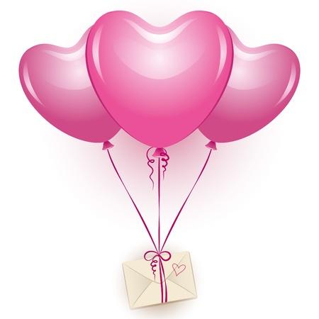 trois belles ballons roses avec une enveloppe beige