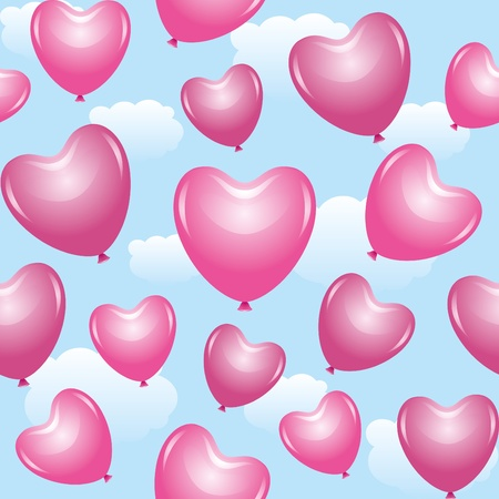 seamless pattern with beautiful pink ballons of hearts Vector