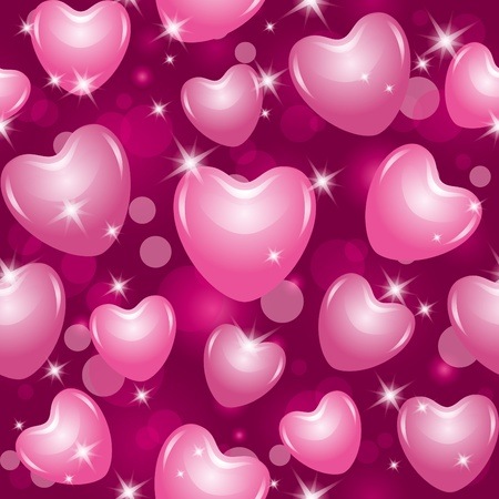 shiny seamless pattern with beautiful pink hearts Vector