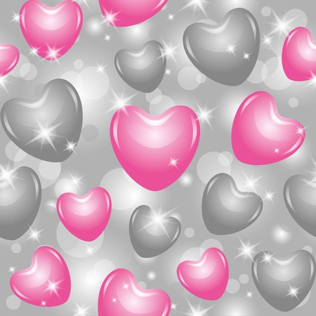 silver stars: shiny seamless pattern with beautiful pink and gray hearts Illustration
