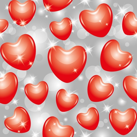 shiny seamless pattern with beautiful red hearts Vector