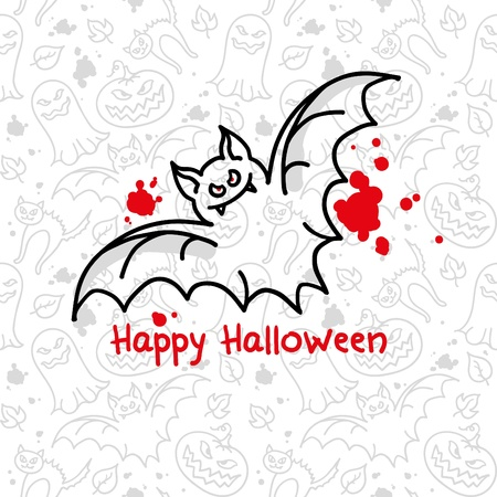 simple halloween card with bat and blood blots Vector