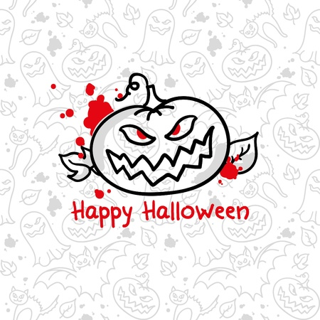 simple halloween card with pumpkin and blood blots Stock Vector - 10446809