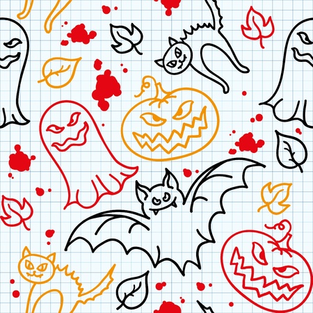 funny halloween seamless pattern with hand drawn elements Vector