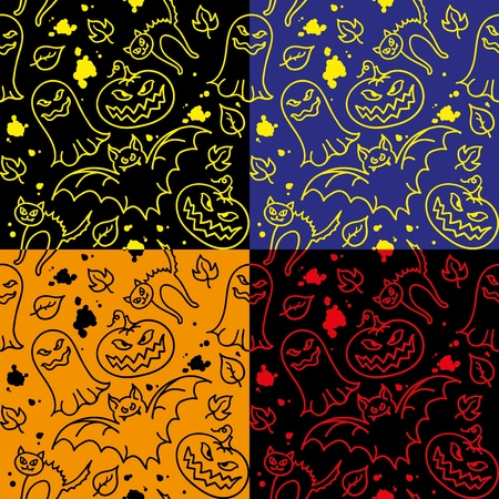 spiteful: set of halloween seamless pattern with hand drawn elements